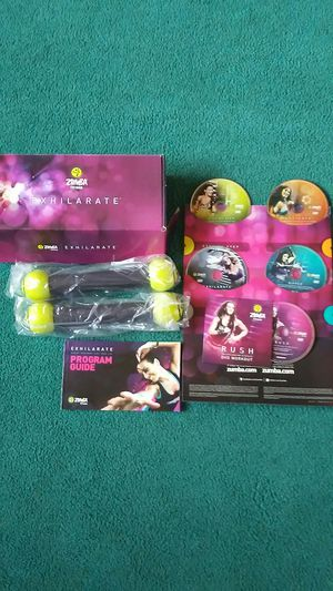 Zumba exhilarate / 5 dvd + tone bars for Sale in Pueblo West, CO
