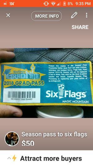 Six flags magic mountain Season pass for Sale in Sanger, CA