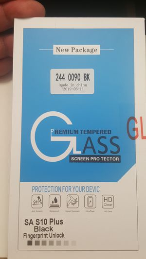 Tempered glass for samsung galaxy s10+ plus new 7firm shiping only lastone for Sale in Phoenix, AZ