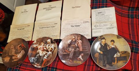 Vintage Collection of 4 Norman Rockwell Collectors Plates Knowles for Sale in Detroit,  MI