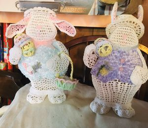 Plastic metal wired bunnies for Sale in Racine, WI