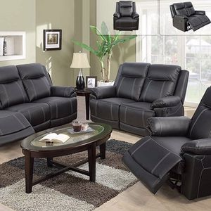 Black Leather Fully Reclining Sofa Set for Sale in Renton, WA