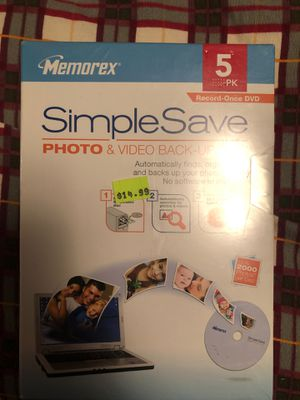 Simple Save photo & video back- up disc 5 pack each $10 each PK for Sale in Moreno Valley, CA