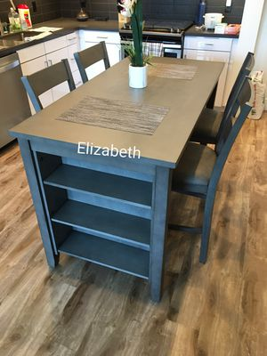 5pcs counter height dining table set with kitchen shelves for Sale in Long Beach, CA