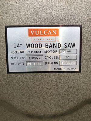 Vulcan Wood Band Saw for Sale in Long Beach, CA