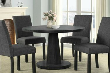 Brand New Grey Finish Round 5pc Dining Set With Charcoal Grey Linen Chairs for Sale in Renton,  WA