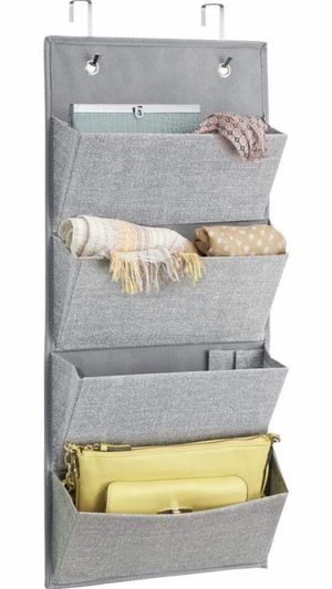 Over The Door Hanging Storage Organizer with 4 Large Pockets for Closets in Bedrooms, Hallway, Entryway, Mudroom - Hooks Included - Textured Print - for Sale in Las Vegas, NV