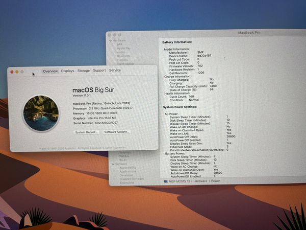 MacBook Pro (Retina, 15-inch), 2.3 GHz Quad Core i7, 16GB Ram, 512GB SSD - excellent shape