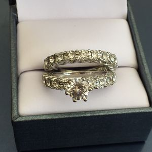 Sterling silver plated sapphire wedding engagement ring band size 6 and 7 available for Sale in Colesville, MD