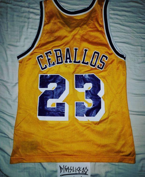 VINTAGE LAKERS CHAMPION JERSEY CEDRIC CEBALLOS LBJ 23 VTG LEBRON for ... 562201f14