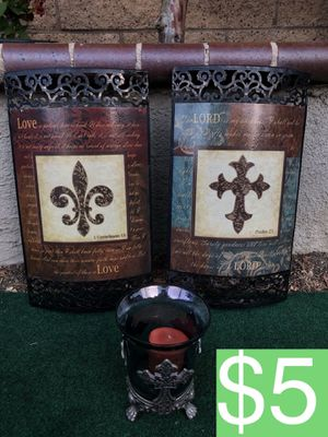2 LORD/ LOVE FRAMES + CROSSES CANDLE HOLDER (SELLING ALL FOR $5) for Sale in Corona, CA