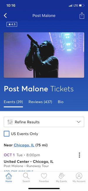 Post Malone Tickets at United Center for Sale in Chicago, IL