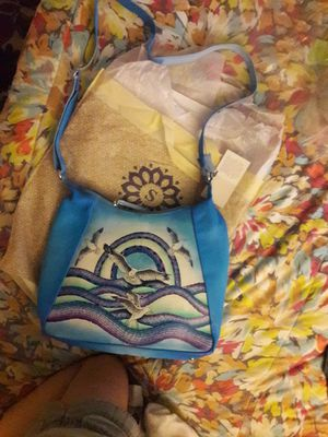 SUKRITI Blue Sea Gulls Hand Painted 100% leather Hobo Tote Bag for Sale in Aurora, CO