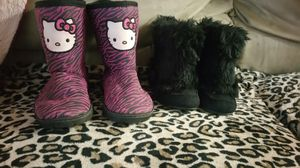 Girls boots Hello Kitty and black fuzzy hard-soled boots they are not slippers for Sale in Springfield, OR