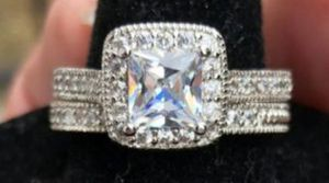 2 ct Sterling silver princess halo set for Sale in Baltimore, MD