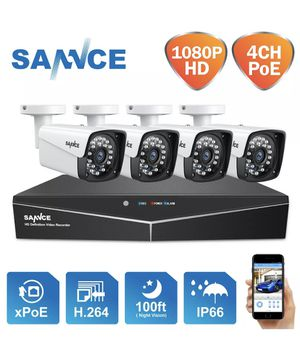 SANNCE 1080P PoE 4CH NVR Outdoor CCTV 2MP Security IP Camera System Surveillance 1TB for Sale in Whittier, CA