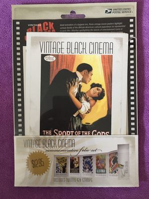 Vintage Black Cinema Commemorative Folio W/pane of 20 and SEALED for Sale in San Jose, CA