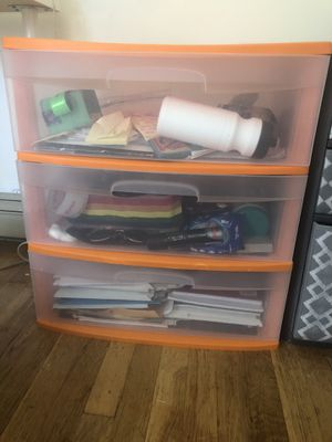 Wide plastic drawer with three compartments for Sale in Boston, MA