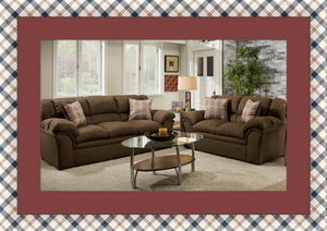 Chocolate fabric sofa and loveseat for Sale in Rockville, MD
