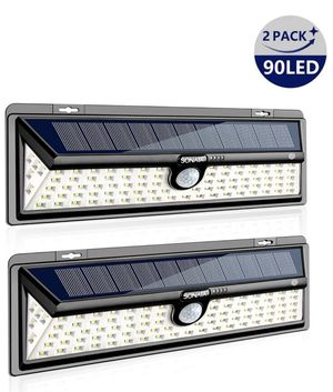 Solar Lights Outdoor, Sonata Motion Sensor Light with 270° Wide Angle, Upgraded 90 LED 3 Optional Modes Solar Security Wall Lights for Garden, Front for Sale in Piscataway, NJ