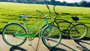 2 Beach Cruiser Bicycles 1 Ladies Pastel Green & 1 Men's Dark Charcoal ❤️Couples Alert!‼️Read the Details! for Sale in Alafaya, FL