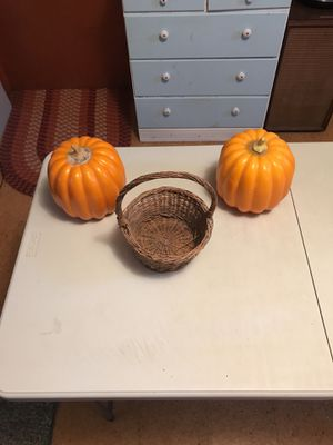 Decorative pumpkins with basket for Sale in Herndon, VA