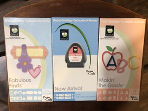 Cricut shapes and font cartridge bundle for Sale in Lake Tapps, WA