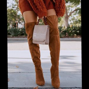 Camel boots over knee vegan suede for Sale in Ontario, CA
