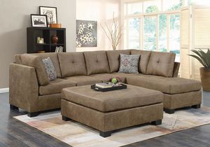 New Darie II Microfiber brown sectional sofa ottoman for Sale in Miami, FL