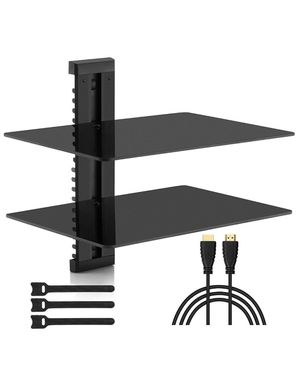 PERLESMITH Floating AV Shelf Double Wall Mount Shelf - Holds up to 16.5lbs - DVD DVR Component Shelf with Strengthened Tempered Glass - Perfect for P for Sale in Lyons, IL