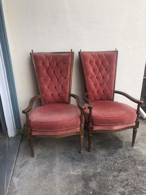 Pair Antique Vintage Red Tufted Velvet Chairs for Sale in Redwood City, CA