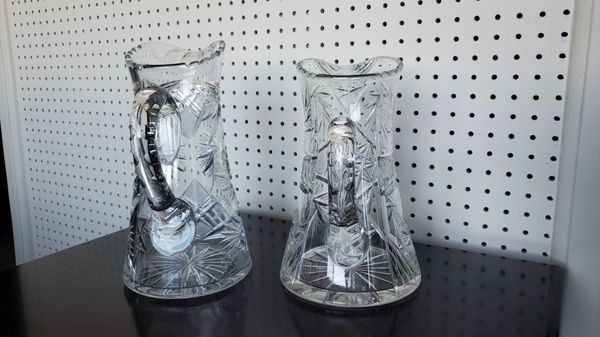 Antique american brilliant period cut glass pitchers crystal