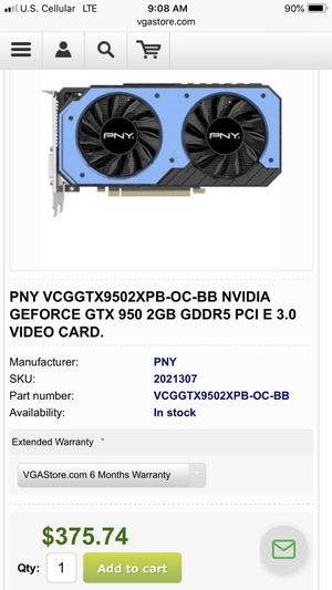 PNY GTX 950 SSC 2GB DDR5 *^Best Offer** for Sale in Maquoketa, IA
