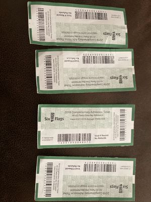 Six flags tickets 4 for $100 for Sale in Stonington, CT