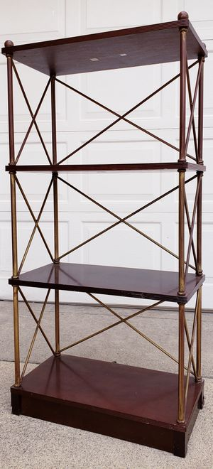 Beautiful HEAVY SOLID WOOD & METAL 3 Tier Tiered Display Curio Cubby Cubbies Bookcase Bookshelves Organizer Stand Unit Cabinet Pantry Kitchen Bath for Sale in Monterey Park, CA