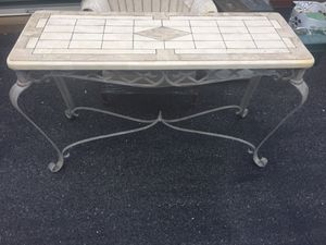 Vintage travertine tile console table with wrought iron base for Sale in Purcellville, VA