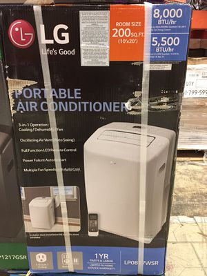 LG Electronics 8,000 BTU (5,500 BTU, DOE) 115-Volt Portable Air Conditioner with Dehumidifier Function and LCD Remote in White for Sale in El Monte, CA