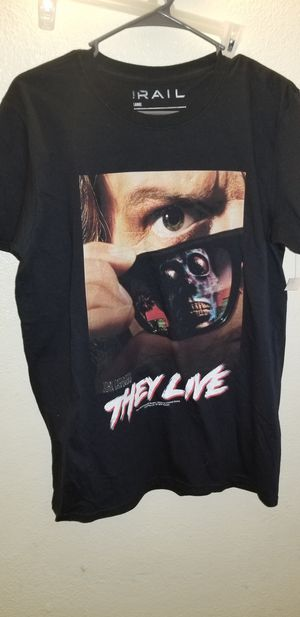 93202687386 AUTHENTIC JOHN CARPENTER S THEY LIVE MOVIE POSTER HORROR TEE SHIRT size L  for Sale in Alpine