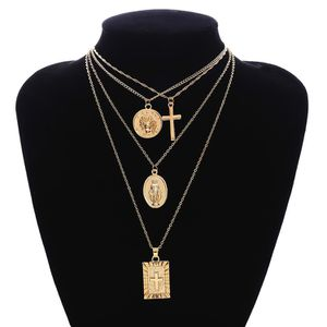 18K Gold Plated Jesus Cross Necklace MultiLayer Chain Pendant Choker Necklace for Sale in Los Angeles, CA
