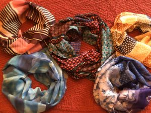 5 long beautiful scarves (e) for Sale in Round Lake, IL