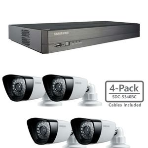 5 Samsung analog security cameras DVR Cables Monitor and key board included for Sale in Miami, FL