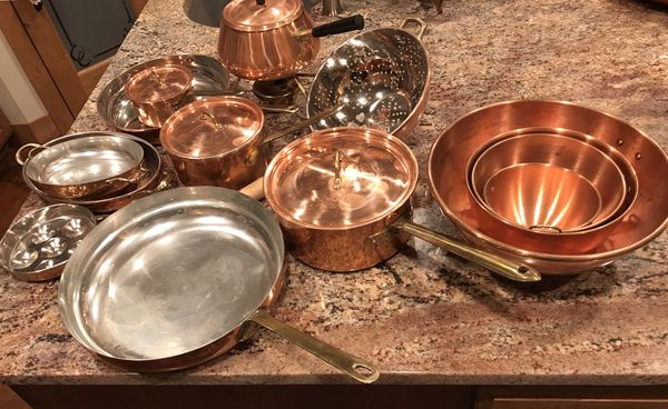 Copper stainless cookware and bowl set