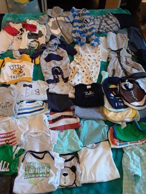 Baby boy bundle size 0/3 3/6 months 52 pieces plus new born diapers asking $30 for Sale in Windsor Hills, CA