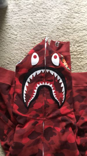 Bape Red Shark Camo Hoodie XL for Sale in Cary, NC