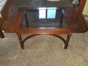 Antique oak drop glass leaf living room table for Sale in Chelsea, MA