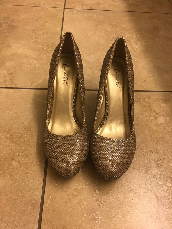 Bommilel, high heels, glittery golden color