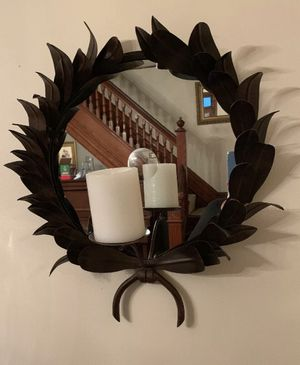"""Global Views Metal Wreath Candle Reflecting Mirror Wall Hanging 20"""" W X 22"""" H great condition, for a pillar or votive candle, candle not included for Sale in Schnecksville, PA"""