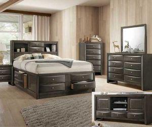 Queen frame. Dresser. Mirror one night stand. Check description 79PSP for Sale in Pomona, CA