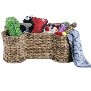 Bone Dry Pet Storage Collection Bone Shape Hyacinth Toy Basket for Sale in Los Angeles, CA