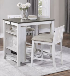 NEW Breakfast Table with 2 Upholstered chairs (Counter Height) Table has USB Ports for Sale in Houston, TX
